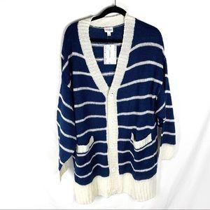 NWT LulaRoe Lucille Blue White Striped Cardigan